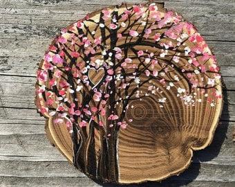 Spring cherry blossoms wedding cake topper, keepsake, memento, personalized!