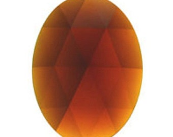 Dark Amber 40x30mm Oval Flat Backed Faceted Glass Jewel - Stained Glass Jewels