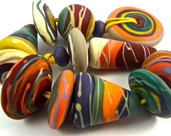 Terra - Handmade Lampwork Bead Set (14) by Anne Schelling, SRA