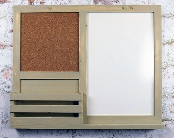 Dry Erase, Cork Board, Kitchen Organizer, Bulletin Board, Mail Holder, Office Organizer, Message Board, Khaki, Rustic Decor, Home Decor