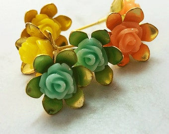 Roses - gold plated earring studs (pink/aqua/yellow) set of 3