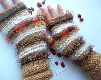 SALE 20% OFF GLOVES Women Bohemian Accessories Boho Hand Knitted Fingerless Mittens Warm Wrist Warmers Winter Feminine Cabled Striped 1024