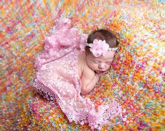 Pink Wrap and Headband Set, Lace Wrap, Lace Fringe Wrap, Newborn Photo Prop, Baby Girl Prop, Wrap Set, Photography Prop