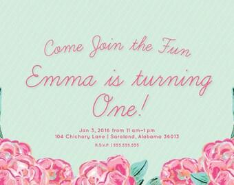 Floral 1st Birthday Invitation   Printable Party Invitation   digital pdf file   Pink + Mint