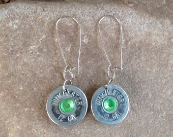 12 Gauge Winchester Shotgun Earrings with Green Gems