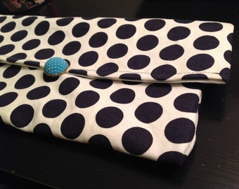 Handmade black and white polka dot clutch purse with vintage turquoise brooch closure