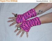 PINK PANTHER. Hand Cocheted Boho Fingerless Gloves Arm Warmers Crochet Pink and Black Spring fashion Accessory Girly Girl Hot pink