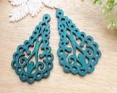 WP38 /#10 Deep Blue / Wood Filigree Tear Shape Lace Dangle /Laser Cut Lace Charm / Pendant /  Filigree Wood Gift /Light earrings