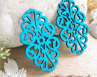 WP06 / #9 Aqua Blue / Filigree Wood Lace Pairs for Earring / Cold Color Laser Cut  Lace Wooden Charm /Pendant /Colorful Wood Charm
