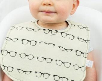 Ivory Geek Glasses Baby Bib, Reversible Baby Snap Bib, Non Velcro Bib, Cotton Reversible Baby Bib, Baby Shower, Glasses, Hipster Baby