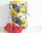 Knitting Project Bag, Drawstring Knitting Tote Grey Yellow Flowers