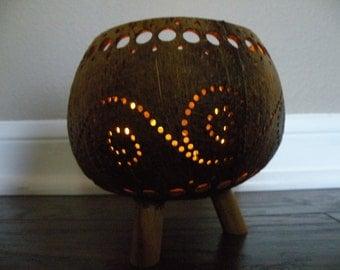 Gourd Tea light Holder with Legs Tiki Bar