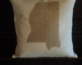 Mississippi Pillow, Canvas, Burlap