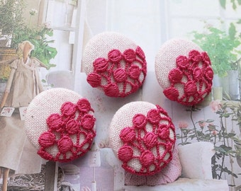 Fabric Covered Buttons - Chic Embroidery Ivory Dark Pink Polka Dots Swiss Dots Lace Floral On Pale Pink (4Pcs, 0.98 Inch)