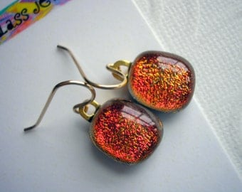 Earrings Dichroic Glass Burnt Orante Copper Sparkle 14K Gold Petite Fall Colors  Under One Inch Long Fused Kiln Glass Jewelry Lightweight