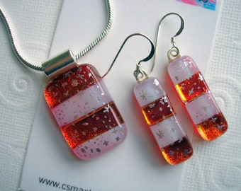 Pendant & Earring Set Red and White Stripes Fused Dichroic Glass Jewelry Starry Twinkle Women's Jewelry Matching .925 Sterling Earwires