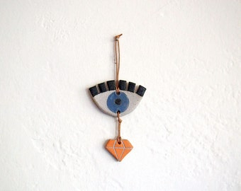 Small Ceramic Eye and Diamond Wall Hanging