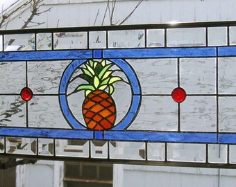 """Pineapple Transom --10.5"""" x  34.5""""--Stained Glass Window Panel"""