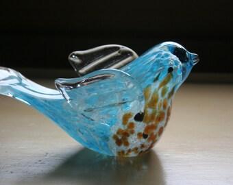 Graceful Speckled Turquoise Blue Art Glass Bird Mottled