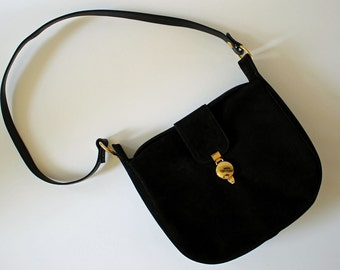 Nice Vintage Shoulder Bag by Bienen Davis...Black Suede...1970s...Classic...Great Condition