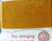 Amber Silk Beading Cord with Needle  - Size 6 - Griffin Pure Silk Thread
