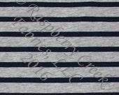 Navy Blue and Grey Heathered Stripe 4 Way Stretch FRENCH TERRY Knit Fabric, Club Fabrics