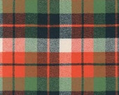 Green Navy and Orange Robert Kaufman Mammoth Plaid Flannel, 1 Yard