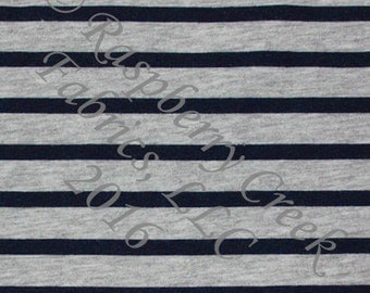 Navy Blue and Grey Heathered Stripe 4 Way Stretch FRENCH TERRY Knit Fabric, Club Fabrics PREORDER