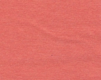 Solid Deep Coral 4 Way Stretch 9oz Cotton Lycra Jersey Knit Fabric, 1 Yard
