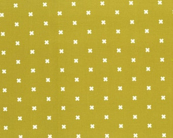 Lime Green and White XOXO Cotton Fabric, Basics for Cotton and Steel, 1 Yard