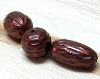Handmade Polymer Clay Beads in brown and Copper, Bead set for jewelry making, Artisan Beads, Hollow Beads, Hand Carved Clay Beads, set of 3