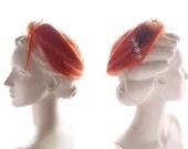 1940s-50s vintage hat / soft persimmon orange fur felt Clamper Hat with feather & rhinestone jeweled piece