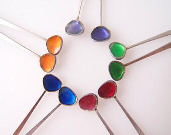 Modernist Color Pop silver spoon enamel pendant earrings / 1960s-70s vintage