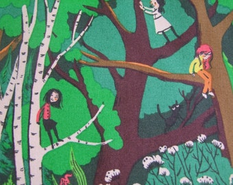 Green Climbing Trees Tiger Lily Heather Ross Fabric by the Yard