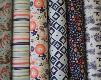 Woodland Fabric Riley Blake Designs Bundle of 6 prints 1/2 yd each