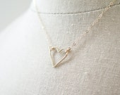 Simple Gold Open Heart Sterling Silver Necklace For Valentines Day
