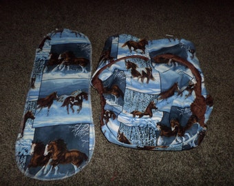Horse Print Beautiful Blue Background Reusable Adult Clot Diaper,Buy 4 Get 1 Free