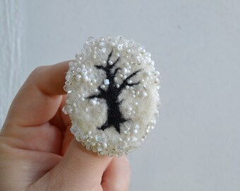 Felt Wool Brooch Pin Black Tree Silhouette White Snow, Winter Brooch Ice on Tree, Unusual Woolen Pin, Christmas Ornament Pin