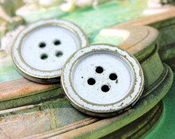 Metal Buttons - Light Blue Painting Metal Buttons , Silver Color , 4 Holes , 0.91 inch , 10 pcs