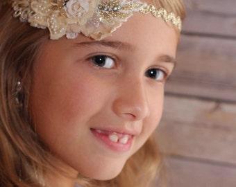 Gold/ Cream Beaded lace headband