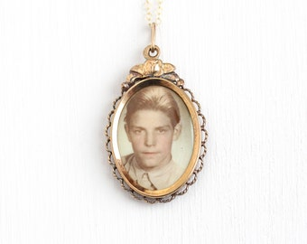 Vintage Art Deco Photographic Pendant Necklace - 1930s WWII Era Germany Old Stock Gold Filled Historical Original Boy Photograph Jewelry