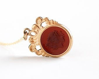 Sale - Antique Gold Filled Simulated Carnelian Female Woman Cameo Intaglio Necklace - Vintage 1900s Edwardian Red Glass Fob Pendant Jewelry