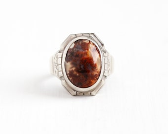 Sale - Vintage Art Deco Sterling Silver Dark Red Moss Agate Ring - 1930s Size 9 Oval Chalcedony Cabochon Gem Statement U Arrow Uncas Jewelry