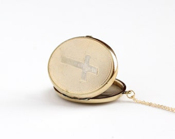 Antique 10k Gold Filled Cross Locket Necklace - Vintage Victorian Edwardian Religious Catholic Large Pendant Fob Charm Jewelry