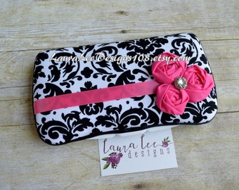 Black and White Damask with Hot Pink Flowers,Travel Baby Wipe Case, Personalized Case, Baby Shower Gift, Diaper Wipe Case, Wipe Holder