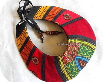 Bold Handmade fabric neckwear, African Bib necklace, One of a Kind Tribal Patchwork Collar, B Modiste, Unique statement piece, One size