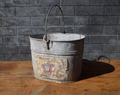 Vintage Galvanized Metal Bucket with Handle and Paper Label / Home Decor / Garden Decor / Storage Organization / Farmhouse / Rustic Decor