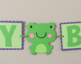 Small purple & Green Frog Happy Birthday Banner