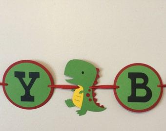 Red and Green Dinosaur Happy Birthday Banner Boy T-Rex