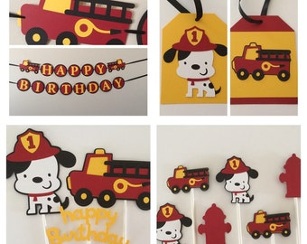 Sound the alarms! Fire truck Party Package Dalmation dog fire truck red black gray